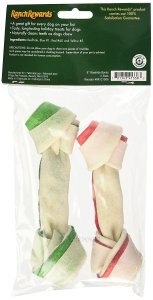 Green and red striped holiday rawhide bones for your dog from Simply Pets Reviews