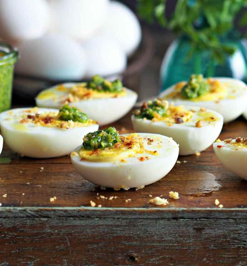 Simply Sated   Pesto on Eggs topped with Sugared Pecans