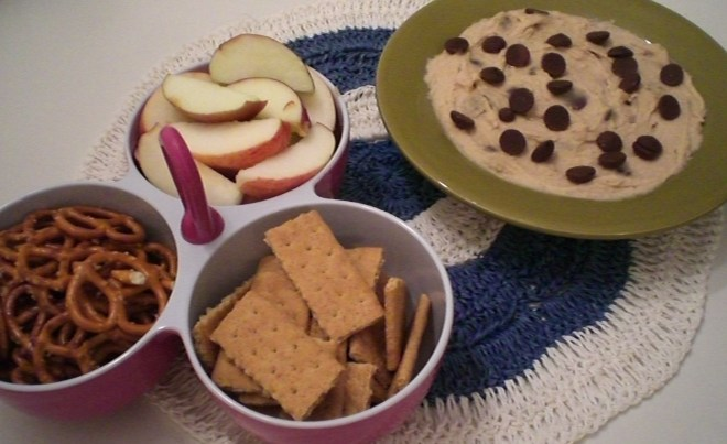 served with pretzels, graham crackers, and apples