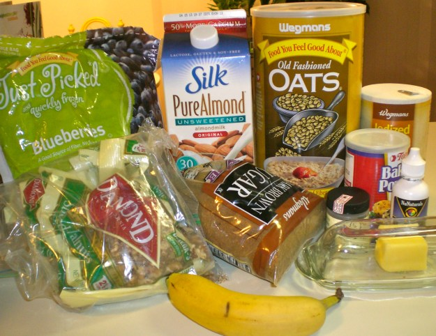 Ingredients for Blueberry Nut Baked Oatmeal