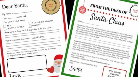 letters tofrom santa free printables december 14 2016 no comments