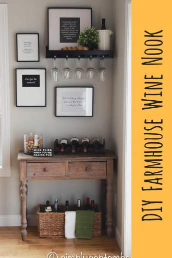 creating a farmhouse inspired wine nook, creating a wine nook, farmhouse inspired, farmhouse decor, wine nook, wine, wine corner, wine bottles, wine glasses, quote decor, sayings decor, DIY art, wine crafts, cork crafts