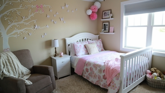 nursery decor, nursery, nursery to big girl room, crib conversion, convertible crib, big girl bed conversion, toddler bed, little girl's room, girl's nursery, baby girl's nursery, pink nursery, gold nursery, rustic nursery, tree in nursery, painted tree, tree mural, leesa, leesa mattress, bed in a box, mattress in a box, butterfly decor, butterfly bedroom, little girl's butterfly bedroom