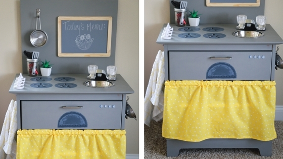 diy kitchen, diy toy kitchen, toy kitchen, furniture remodel, repurposing old furniture, toy kitchen, nightstand kitchen