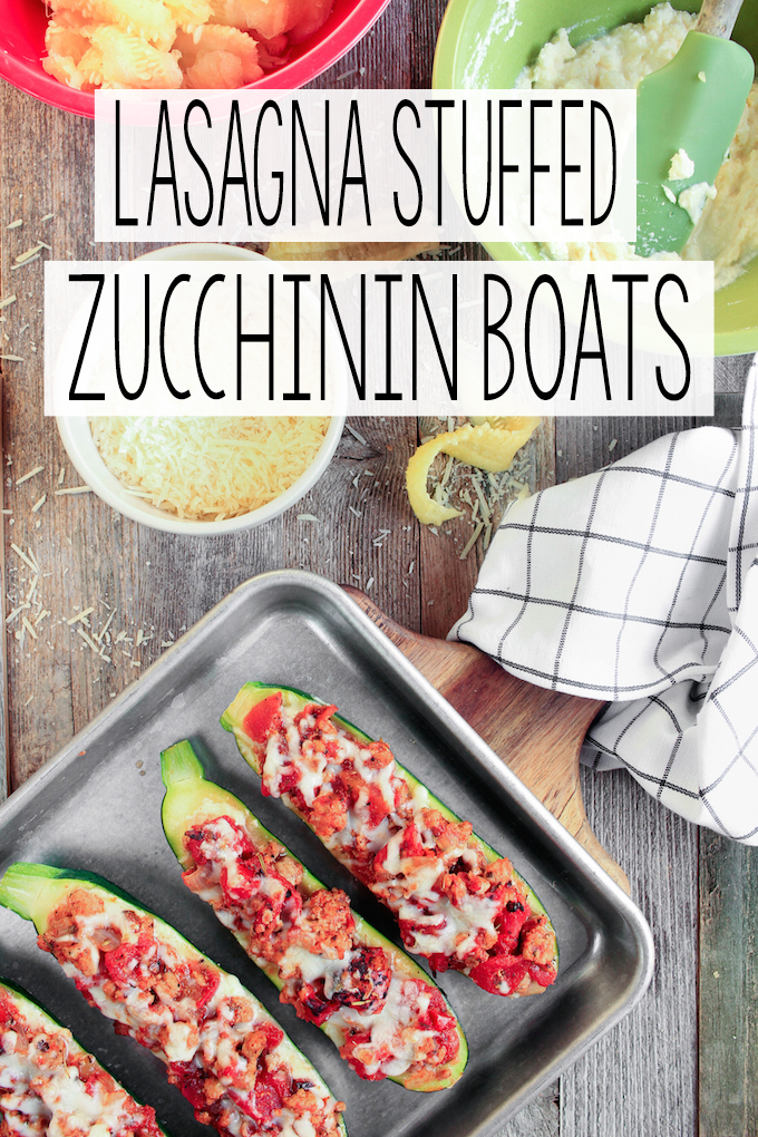 Lasagna stuffed zucchini boats are simple to make, requiring just 30 minutes. Tender zucchini hollowed out and stuffed with layers of creamy ricotta cheese, Italian meat sauce and melty mozzarella cheese.