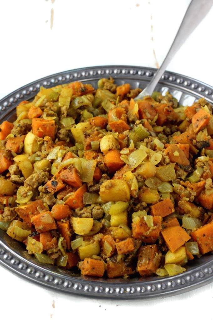 Moist Gluten-Free Stuffing that is PACKED with flavor and made with whole-food ingredients.