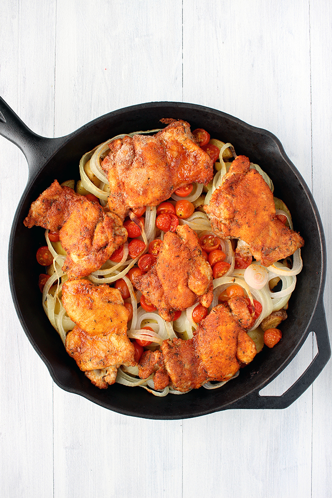 Spanish Chicken and Potato Skillet Bake