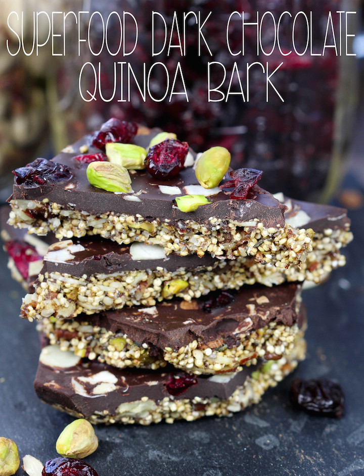 Simple 2 layer Superfood Dark Chocolate Quinoa Bark: crunchy toasted nuts and seeds held together with pure maple syrup on the bottom and decadent dark chocolate studded with cranberries, sliced almonds and pistachios on the top.