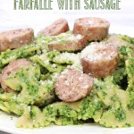 Winter pesto Farfalle with Sausage is packed with superfoods and table ready in 30 minutes. Creamy pesto tossed with whole wheat pasta and topped with Italian sausage... yum!