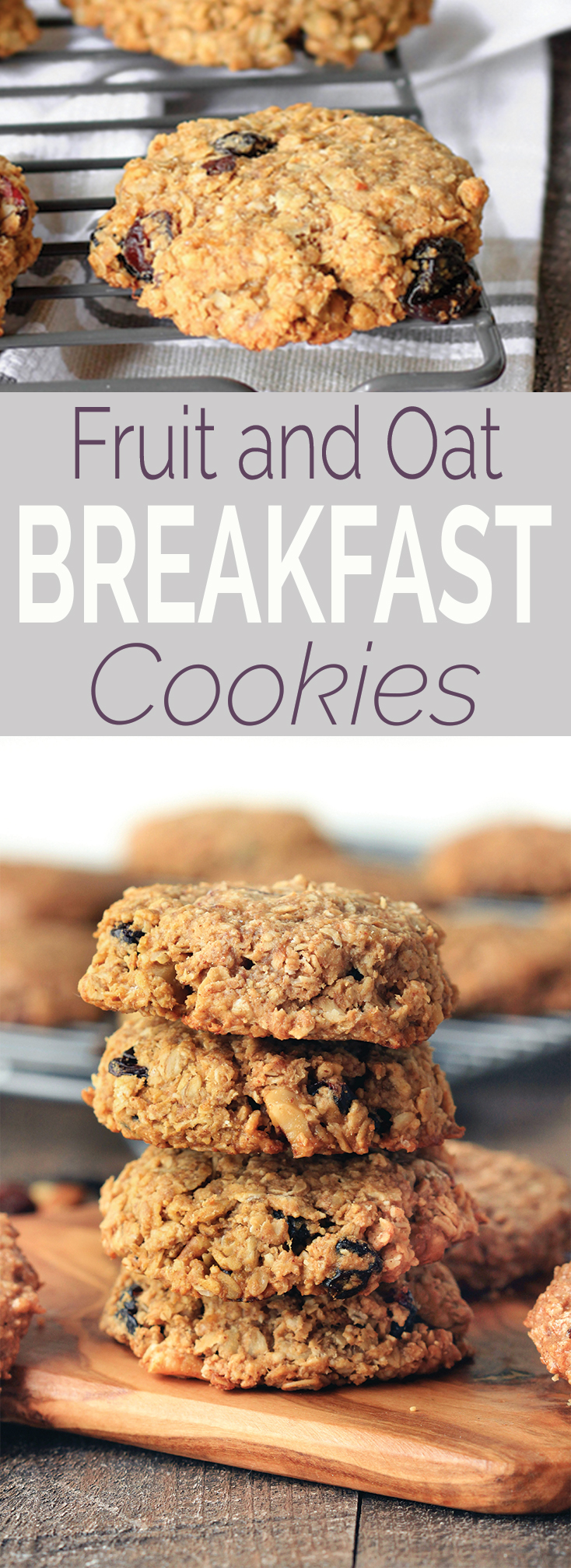 Healthy fruit and oat breakfast cookies (freezer-friendly) are simple to make, requiring only 1 bowl and 10 ingredients. Vegan, gluten-free, perfectly sweet and chewy, and the perfect snack or on-the-go-breakfast. #BRMOats #Ad