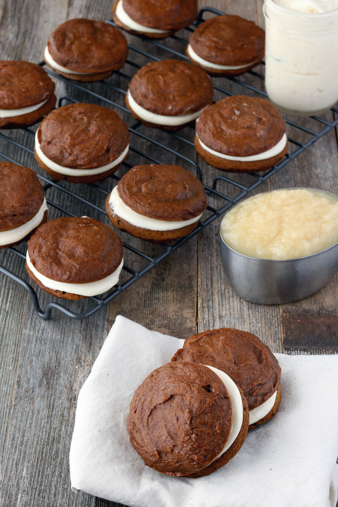 Fluffy, Pumpkin Whoopie Pies with Maple Spice Filling. 1 bowl, simple ingredients, festive and delicious.