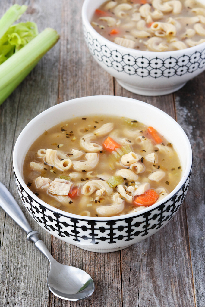 Simple, 30-minute Whole Grain Chicken Noodle Soup -it's a simple, healthy, back-to-basics meal.