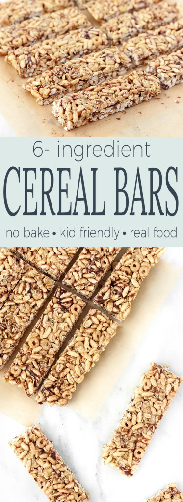 These Healthy No-Bake Cereal Bars for kids are simple to make, requiring just 6 ingredients. Whole-grains, protein and plenty of fiber make them the perfect whole-food grab n' go breakfast option for busy mornings.