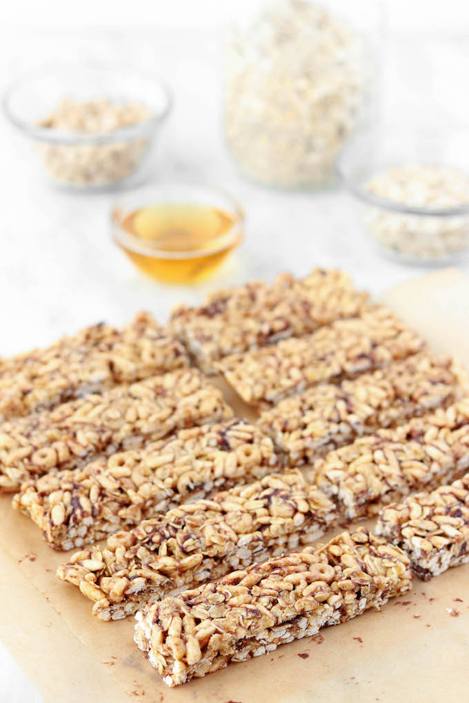 These No-Bake Cereal Bars for kids are simple to make, requiring just 6 ingredients. Whole-grains, protein and plenty of fiber make them the perfect whole-food grab n' go breakfast option for busy mornings.