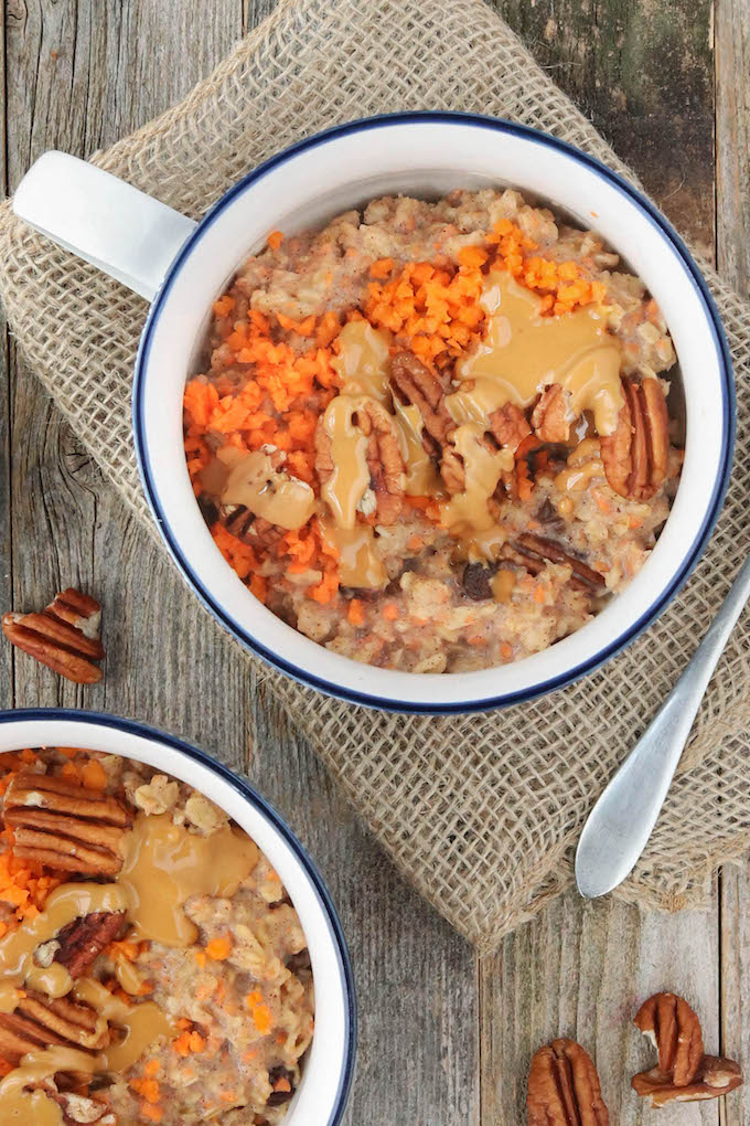 arrot Cake Overnight Oats infused with a subtle maple-cinnamon flavor and studded with golden raisins, roasted pecans and sweet carrots.