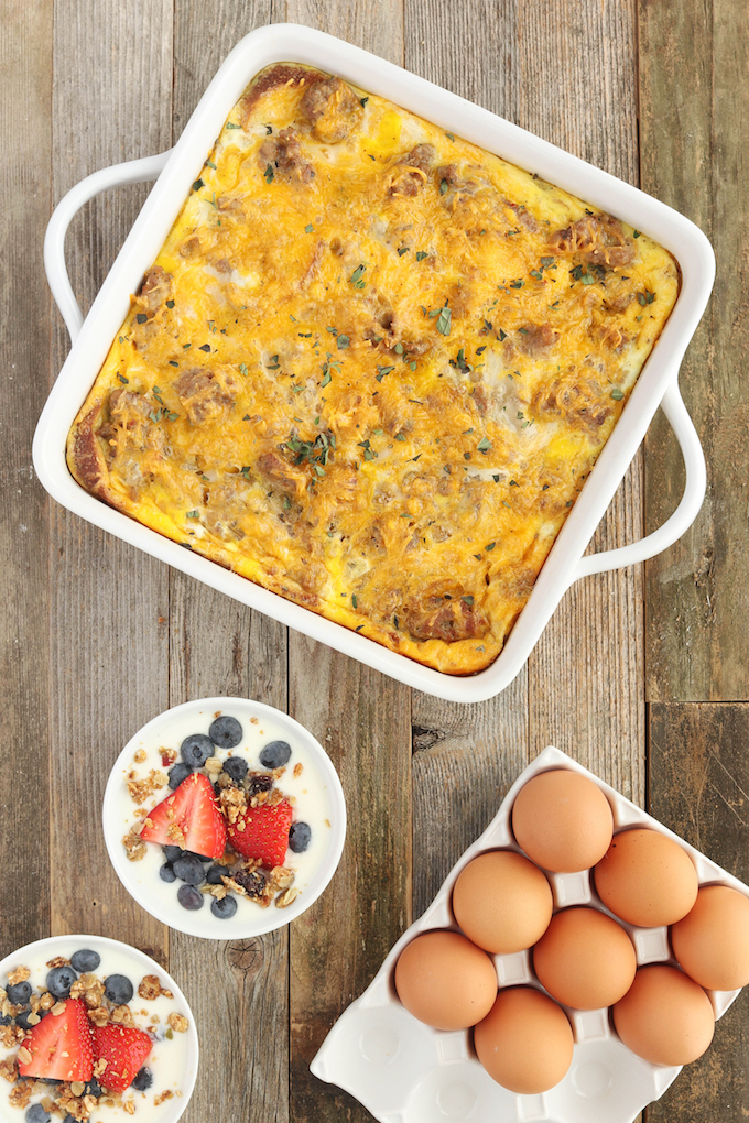 Make Ahead Sausage Egg Breakfast Casserole Casserole is simple to make, requiring only 9 ingredients and 15 minutes prep. Loaded with spicy sausage, melty cheese and fluffy eggs.. it's the perfect go-to brunch dish.