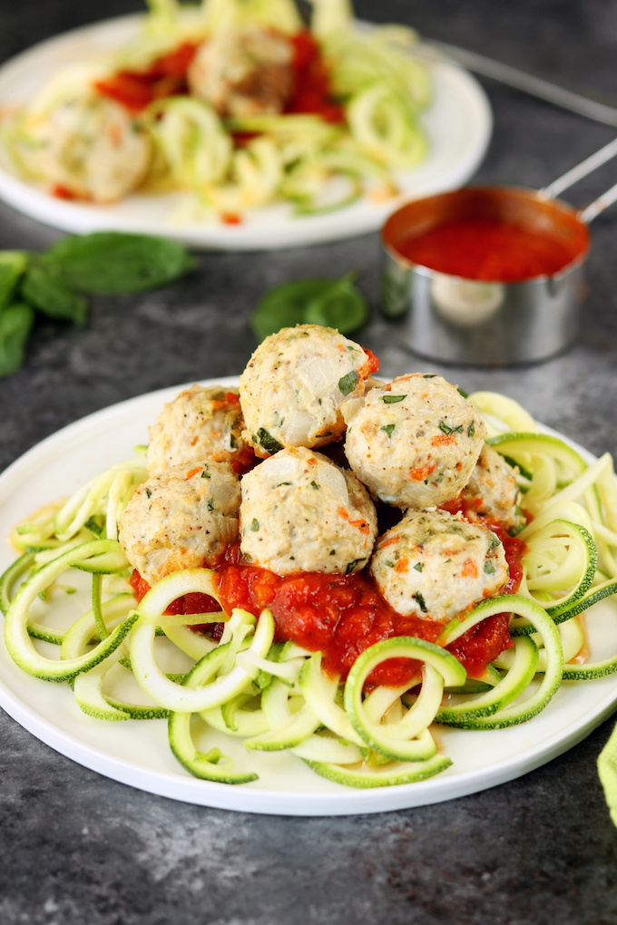 These Chicken Basil Meatballs are fun, easy to make, quick to cook and extremely versatile - plus, they are freezer and Whole30 friendly!