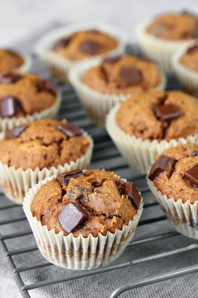 Easy Chunky Chocolate Pumpkin Muffins are moist, flavorful and naturally sweetened. Loaded with wholesome ingredients and studded with chocolate.