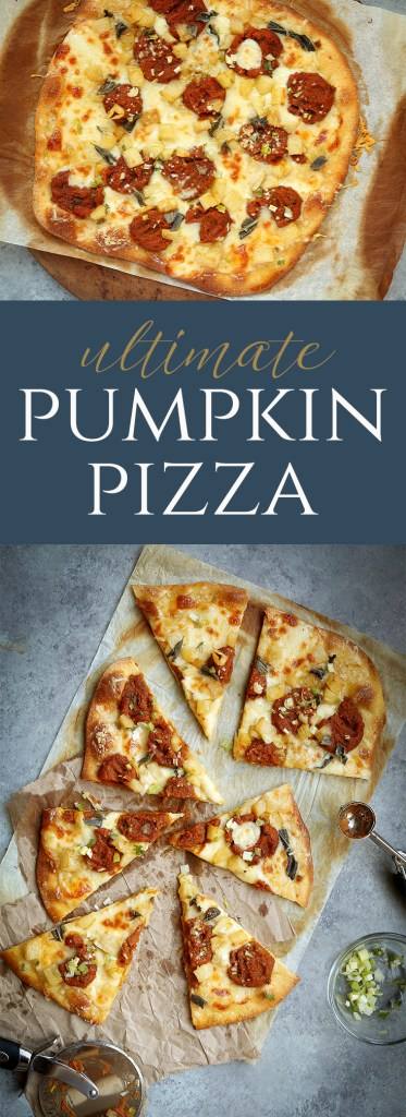Pumpkin, Brown Butter Apples and Sage come together in this extraordinarily cheesy, Fall-inspired Ultimate Pumpkin Pizza.