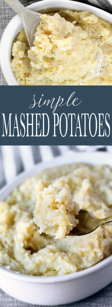 Simple Mashed Potatoes are easy to make, requiring only 5 basic ingredients. Gold potatoes, milk, butter, salt and pepper come together making this classic all-time favorite easier than ever to whip together.