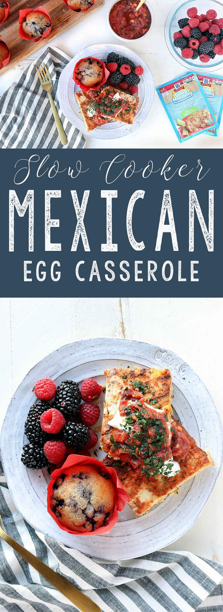 Quick, simple hearty breakfast at it's finest. Ease into your morning routine with Slow Cooker Mexican Egg Casserole.