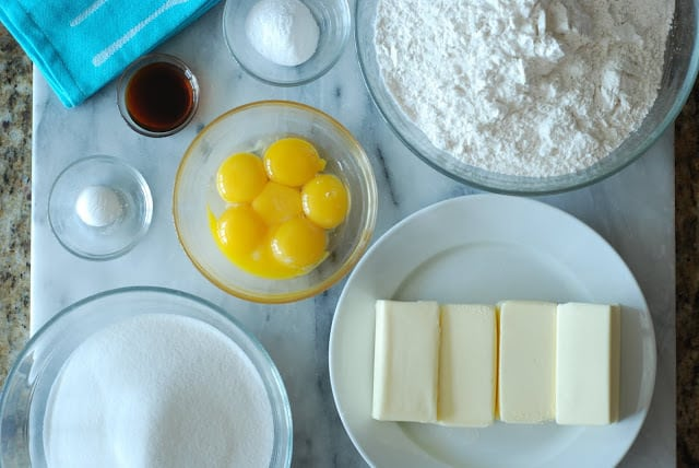 butter, egg yolks, sugar, flour, vanilla