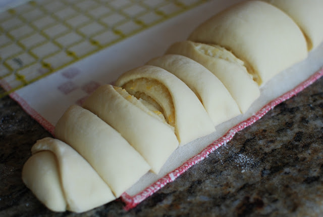 1-inch slices of rolled dough