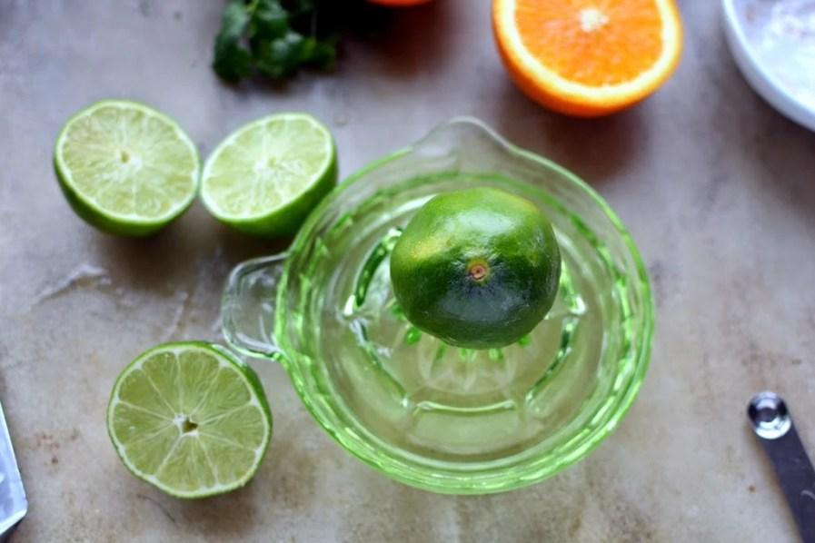 fresh lime on juicer