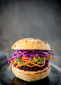 front picture of a beet burger