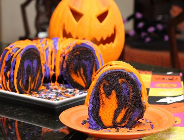 Halloween themed recipes:  Rainbow Party Bundt Cake Recipe