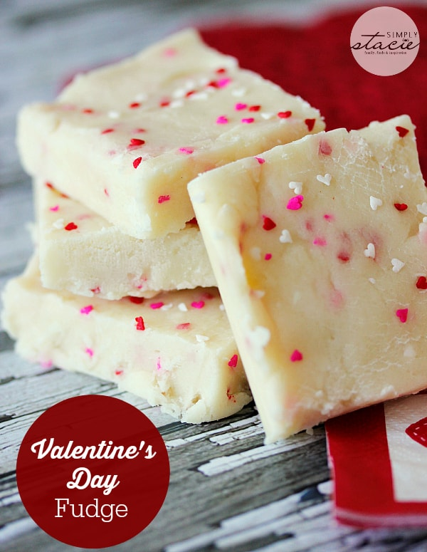 Valentine's Day Fudge from Simply Stacie featured on Belle of the Kitchen
