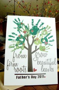 fathers day gift idea kids finger paint tree