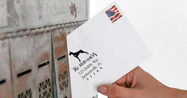 Envelope with Doberman Address Stamp Impression