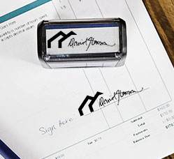 Signature Stamp with Logo with Impression on Invoice