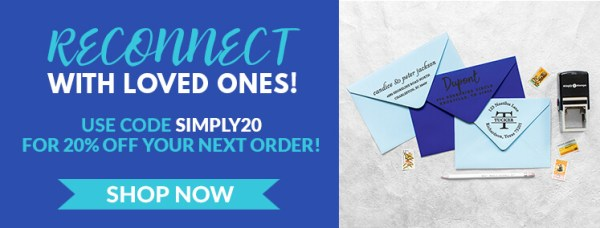 Save with Code SIMPLY20, Envelopes Stamped with Address Stamps