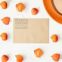 calendar stamp on note card