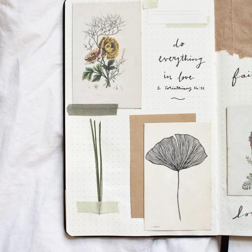 flower stamp on journal pages
