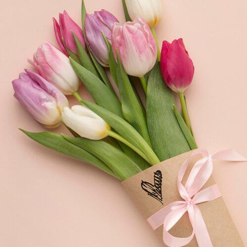 heart craft stamp on flower arrangement