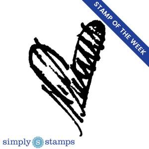 Scribble heart craft stamp