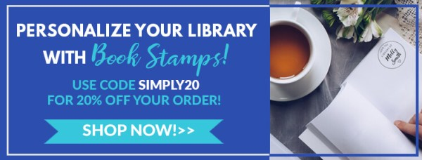 personalize your library with book stamps, use code simply20 for 20% off, shop now