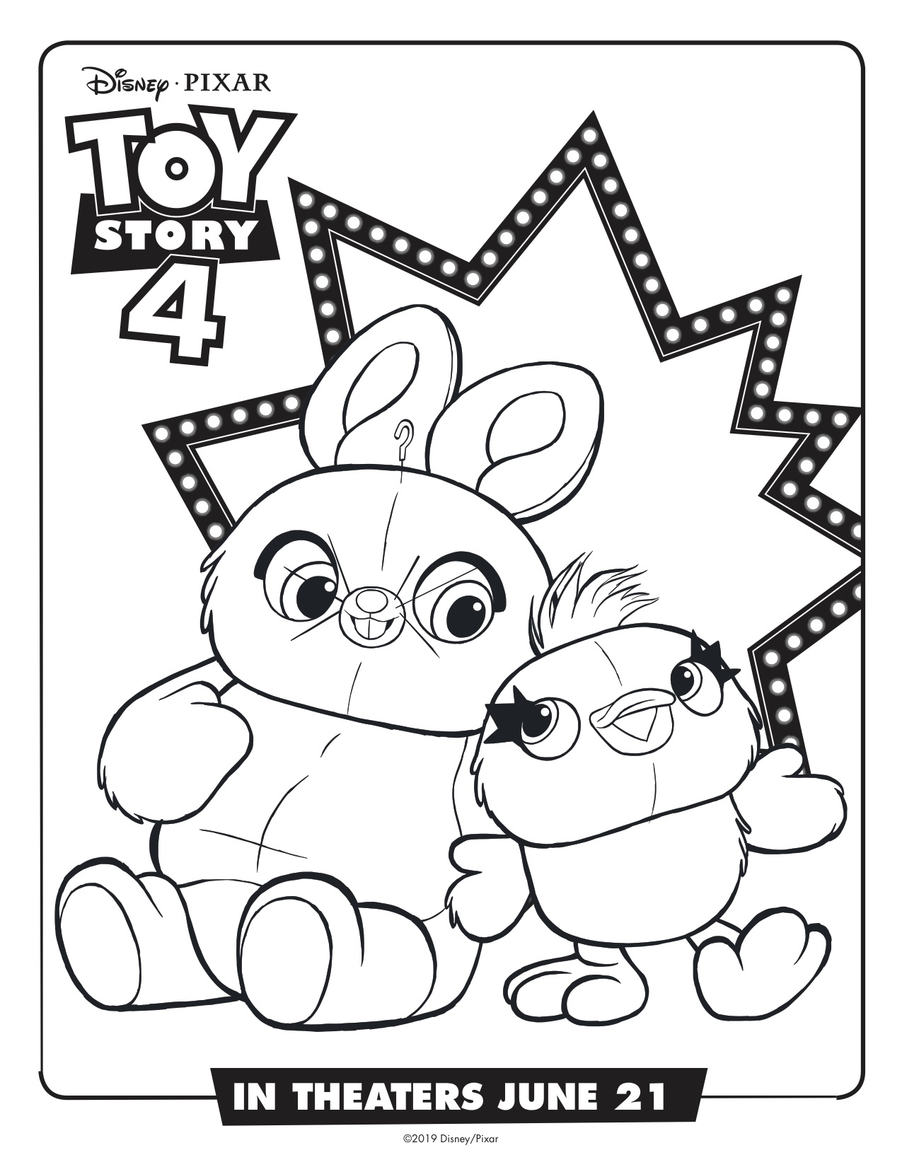 Toy Story 4 Ducky And Bunny Printable Coloring Page Simply