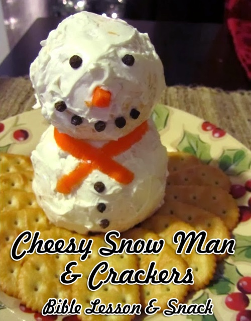 Cheesy Snow Man & Crackers Bible Snack