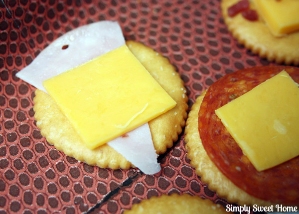 Ham and Cheese Topped Crackers
