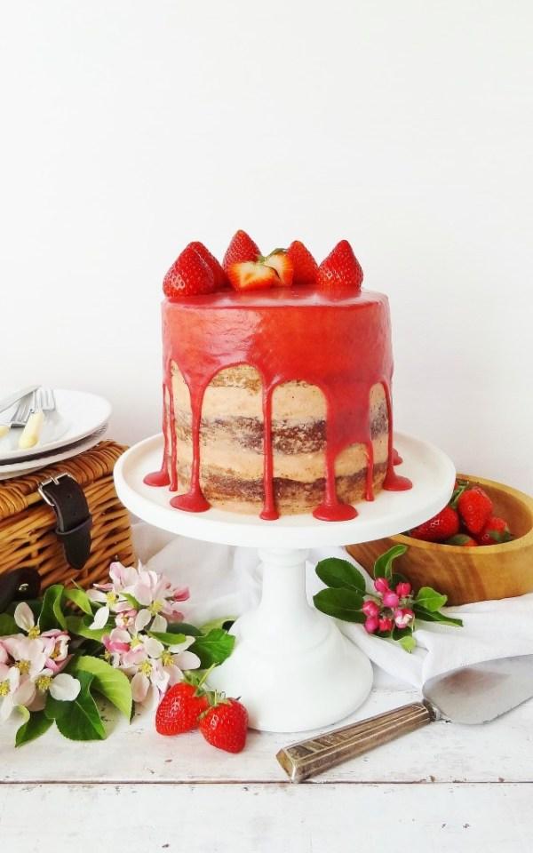 Strawberry Elderflower and Almond Layer Cake
