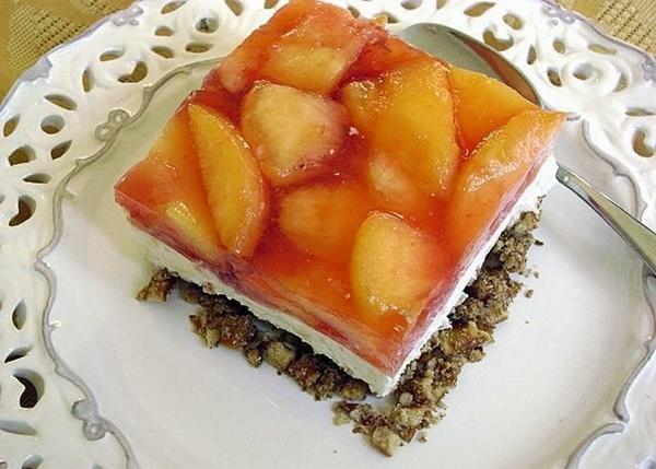 Fresh Peach Pretzel Dessert
