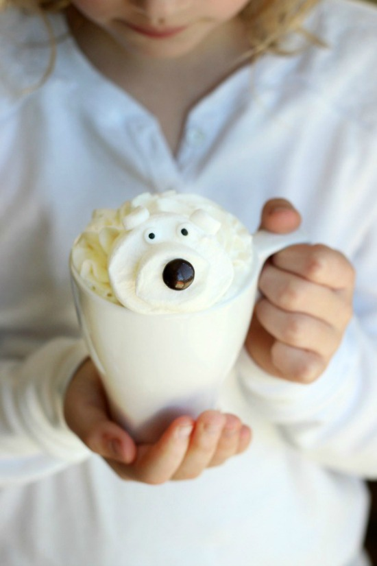 White Hot Chocolate with Polar Bear Marshmallows
