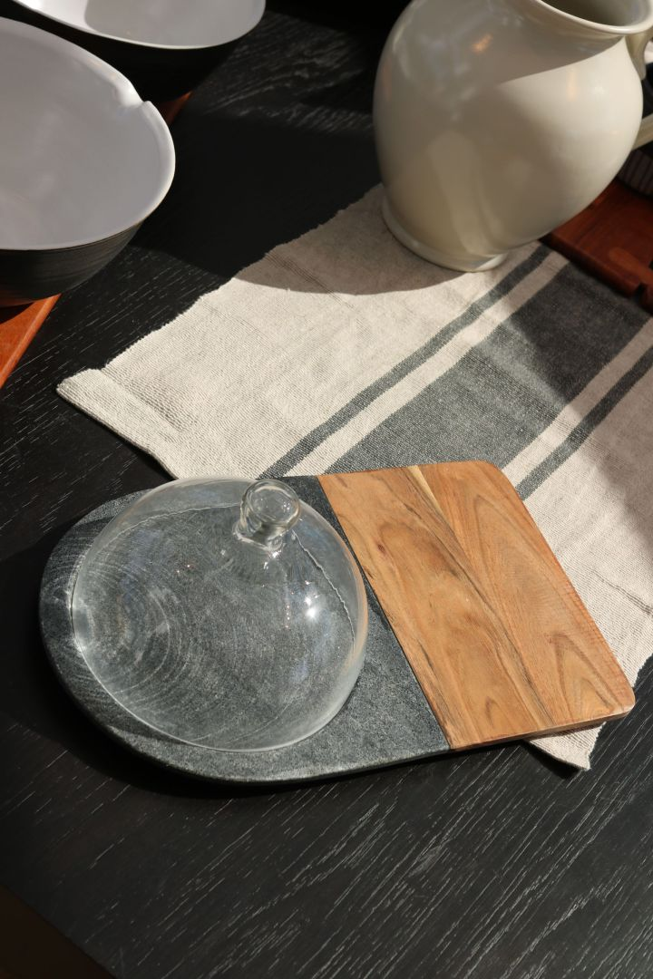 Hayes Marble and Wood Serving Board with Glass Dome (EXCLUSIVE)