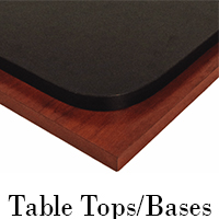 wood and metal table tops, legs, and table bases