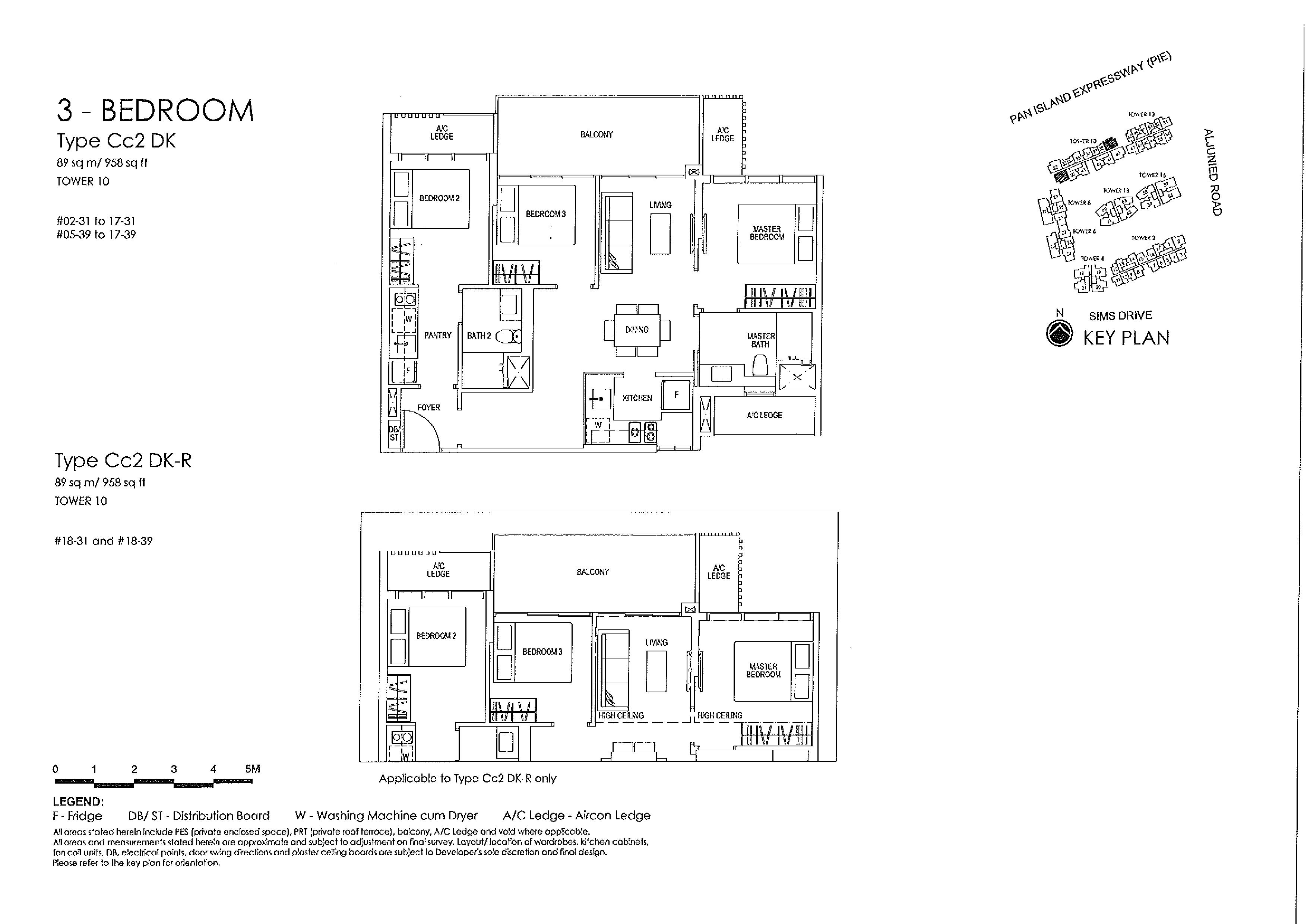 Sims Urban Oasis 3 Bedroom Type Cc2 DK, Cc2 DK-R Floor Plans