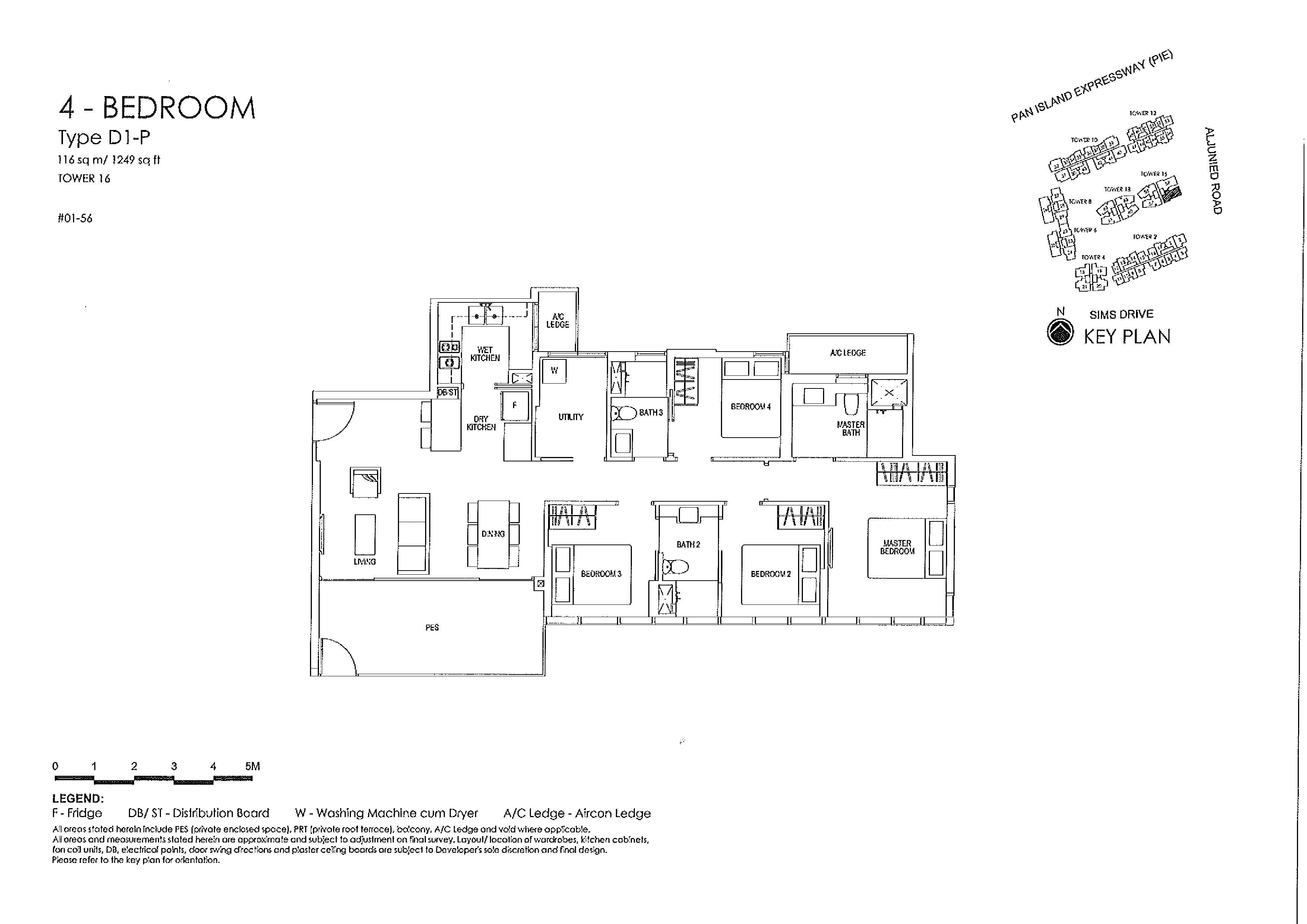 Sims Urban Oasis 4 Bedroom Type D1-P Floor Plans